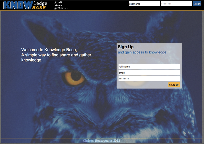The login page of the website.