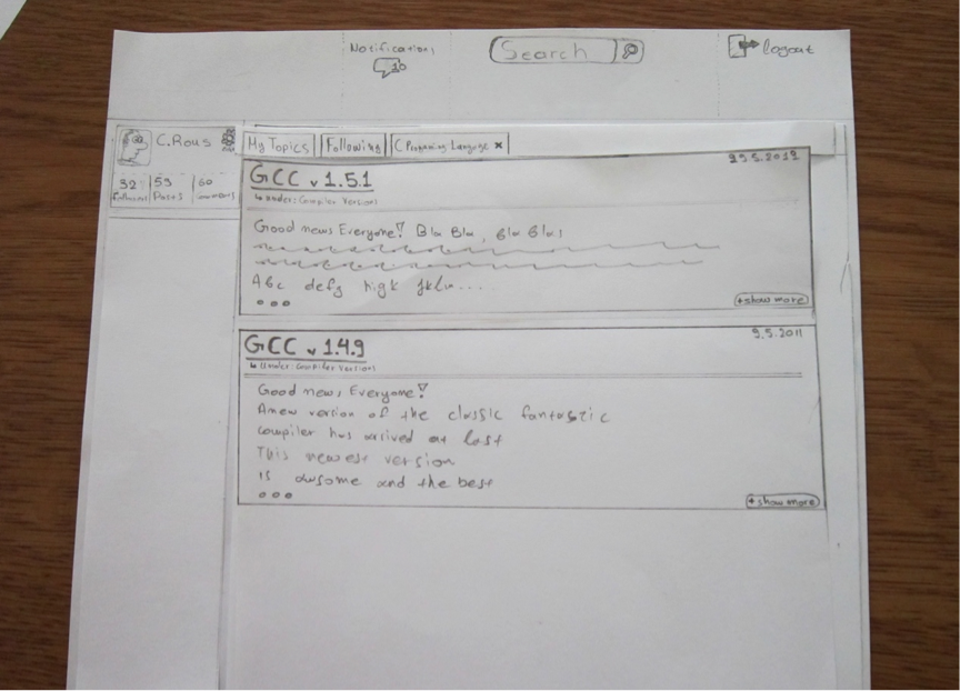 Paper prototype of a usecase (user's topics)