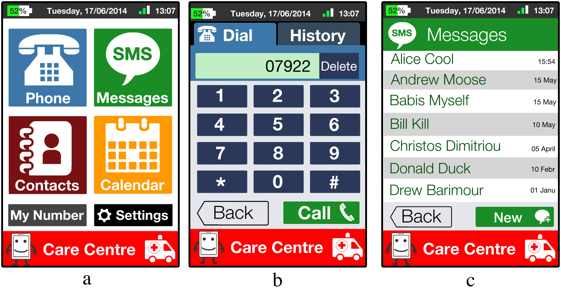 The first three prototypes images, that came out from the design phase. From left to                                                                     right: a) The home screen of the proposed interface b) The phone-dial screen c) The messages                                                                     screen.